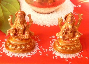 Begining of Mangal Pooja- Gauri Ganeshji idols